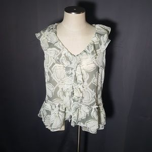 New York & company ruffle button front blouse SZ L